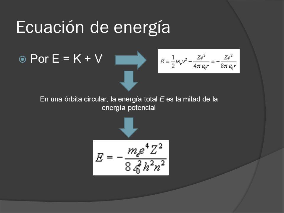 Ecuación de energía Por E = K + V