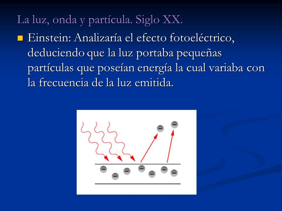 La luz, onda y partícula. Siglo XX.