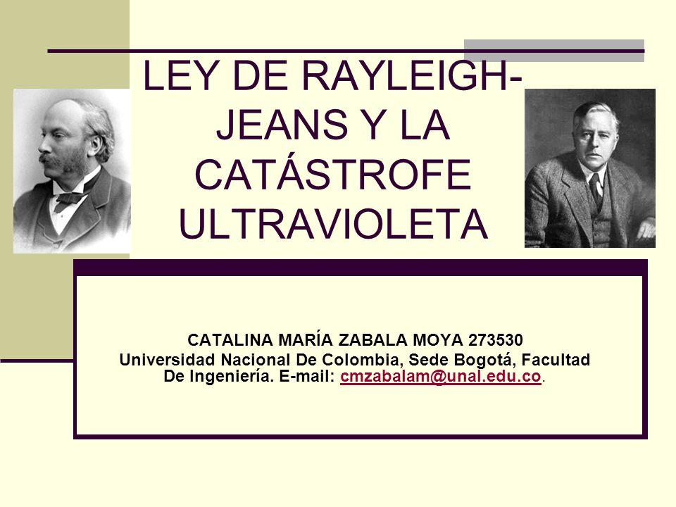 LEY DE RAYLEIGH- JEANS Y LA CATÁSTROFE ULTRAVIOLETA