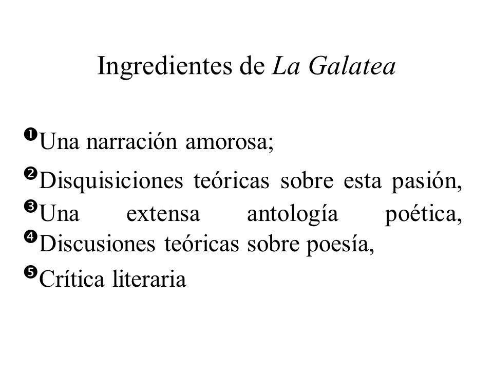 Ingredientes de La Galatea