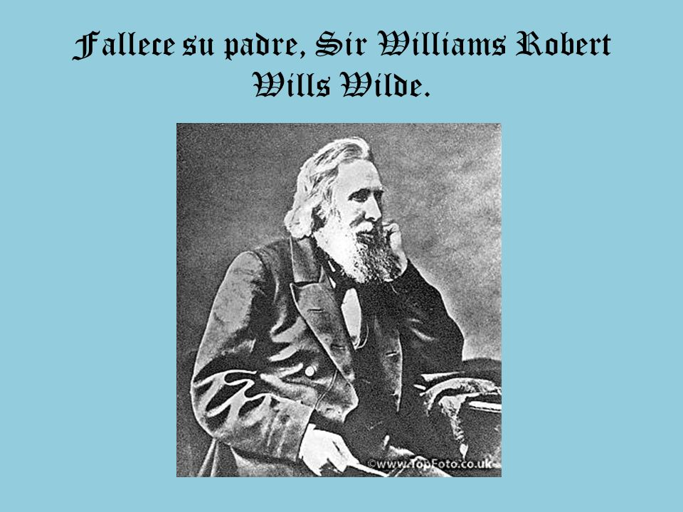 Fallece su padre, Sir Williams Robert Wills Wilde.