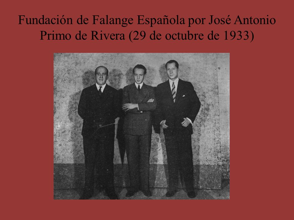 Fundación de Falange Española por José Antonio Primo de Rivera (29 de octubre de 1933)
