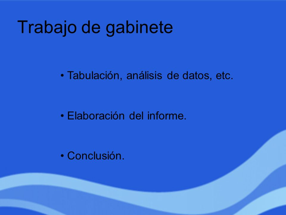 Trabajo de gabinete Tabulación, análisis de datos, etc.