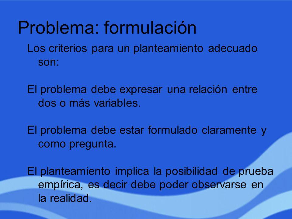 Problema: formulación
