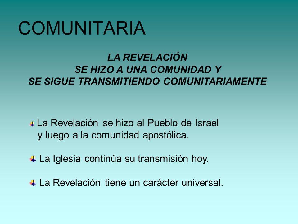COMUNITARIA LA REVELACIÓN SE HIZO A UNA COMUNIDAD Y
