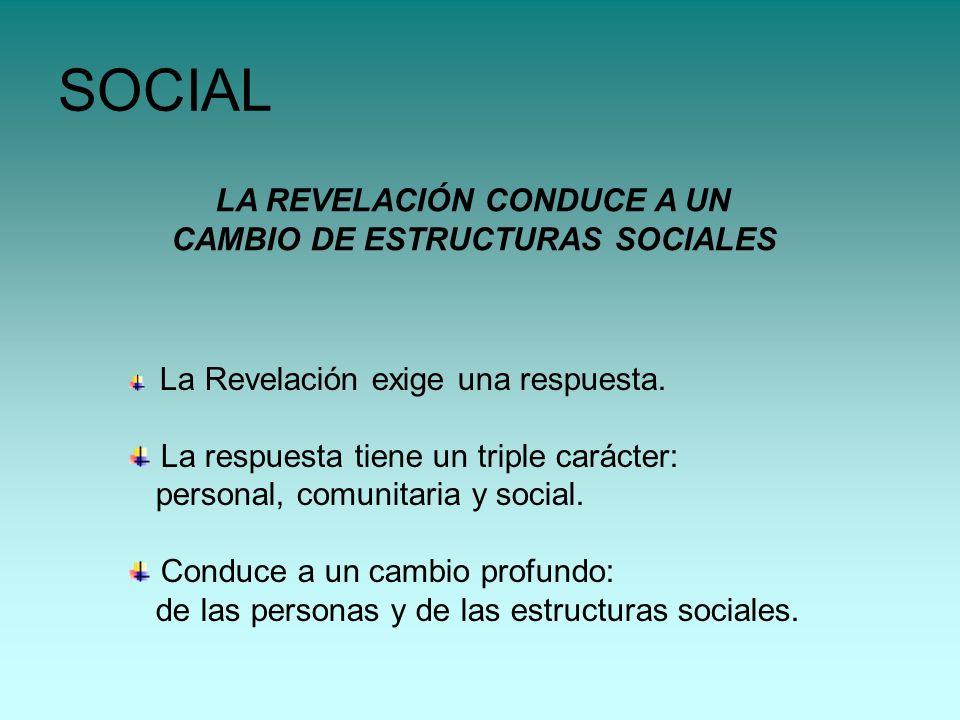 SOCIAL LA REVELACIÓN CONDUCE A UN CAMBIO DE ESTRUCTURAS SOCIALES