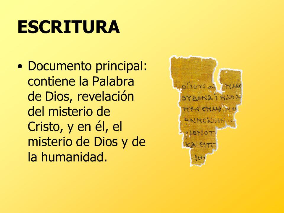 ESCRITURADocumento principal: contiene la Palabra de Dios, revelación del misterio de Cristo, y en él, el misterio de Dios y de la humanidad.