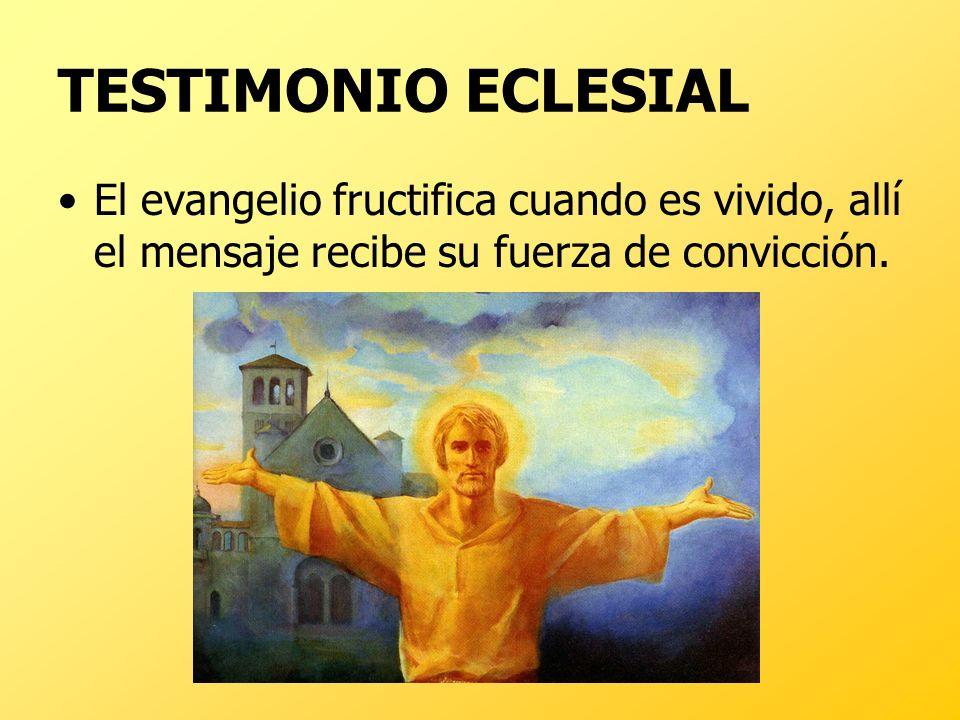 TESTIMONIO ECLESIAL El evangelio fructifica cuando es vivido, allí el mensaje recibe su fuerza de convicción.