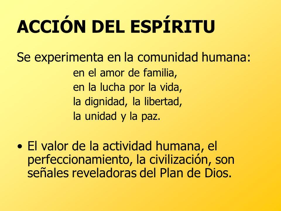 ACCIÓN DEL ESPÍRITU Se experimenta en la comunidad humana: