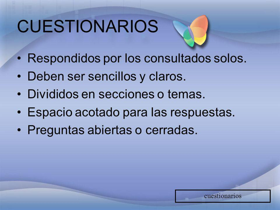 CUESTIONARIOS Respondidos por los consultados solos.