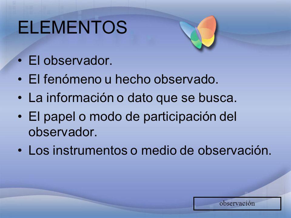 ELEMENTOS El observador. El fenómeno u hecho observado.