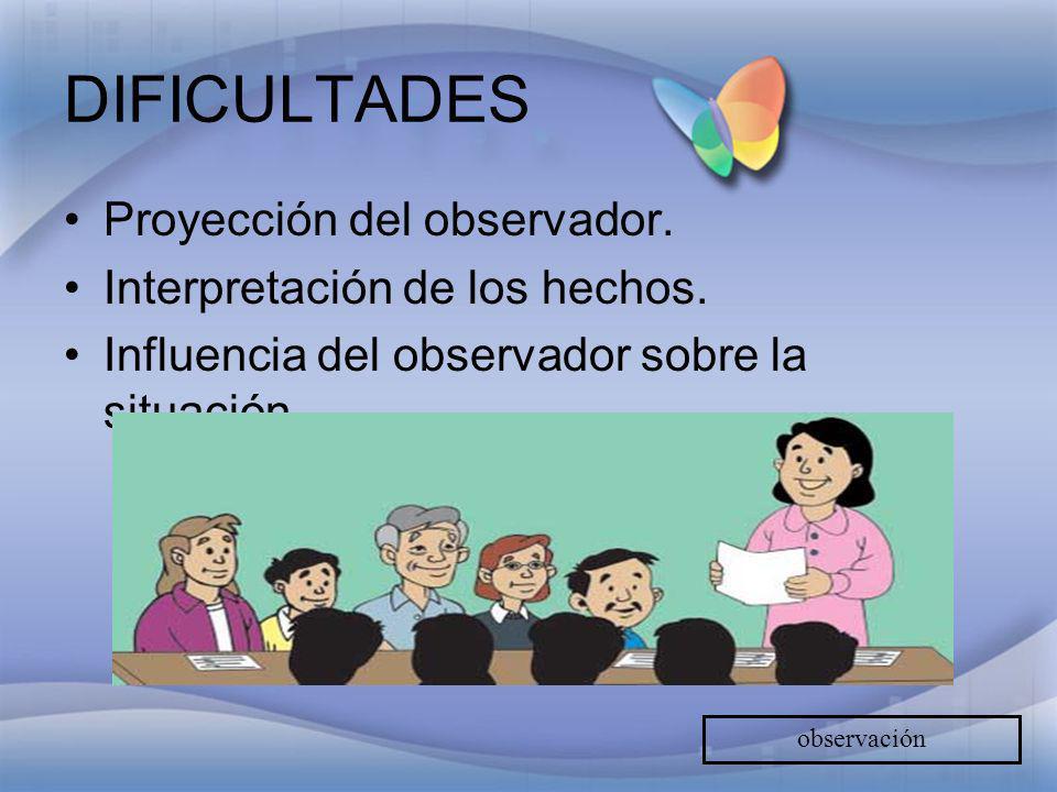 DIFICULTADES Proyección del observador. Interpretación de los hechos.