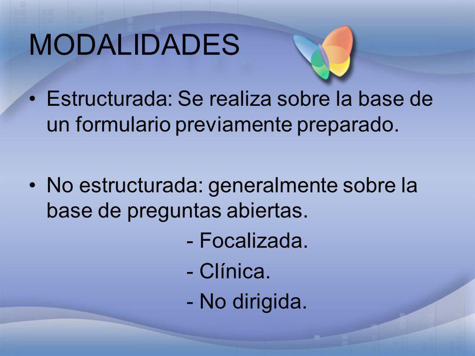 MODALIDADESEstructurada: Se realiza sobre la base de un formulario previamente preparado.