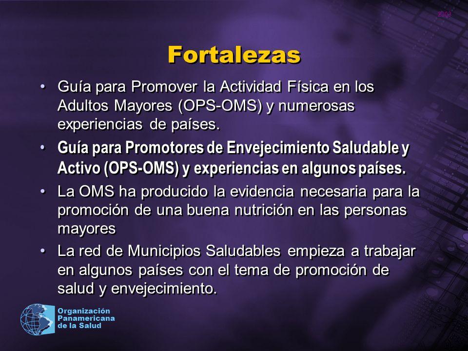 Fortalezas Guía para Promover la Actividad Física en los Adultos Mayores (OPS-OMS) y numerosas experiencias de países.
