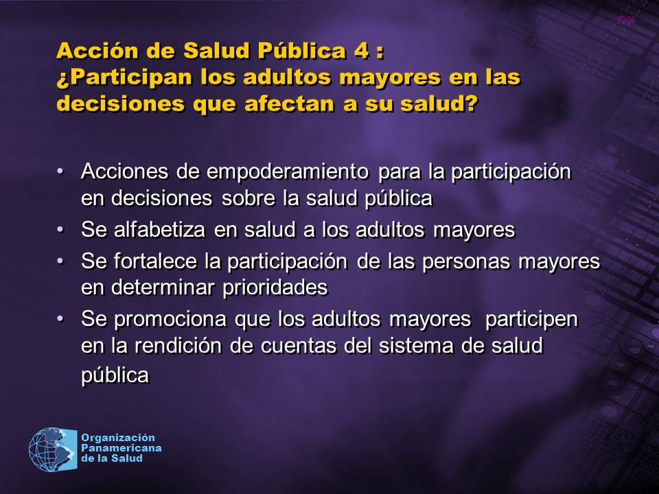 Acción de Salud Pública 4 : ¿Participan los adultos mayores en las decisiones que afectan a su salud