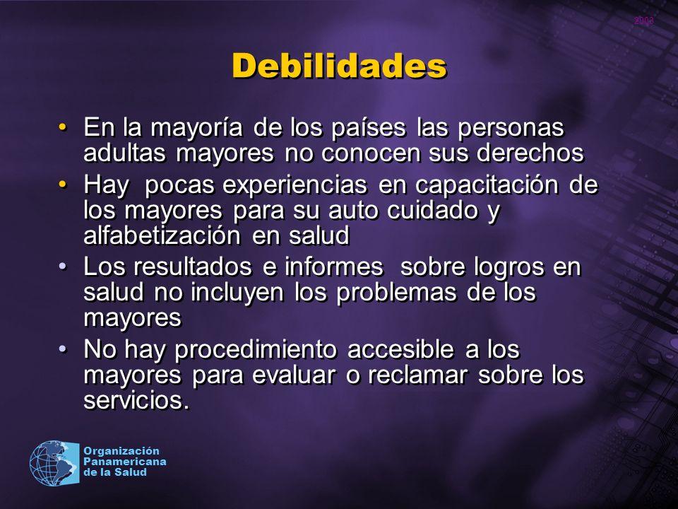 Debilidades En la mayoría de los países las personas adultas mayores no conocen sus derechos.