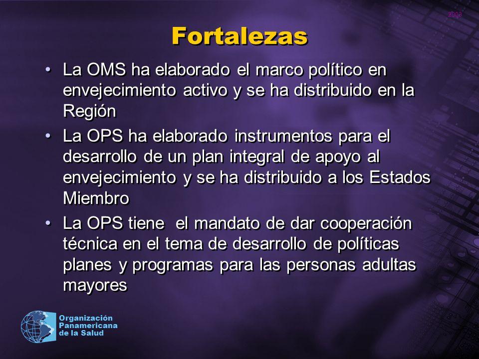 Fortalezas La OMS ha elaborado el marco político en envejecimiento activo y se ha distribuido en la Región.
