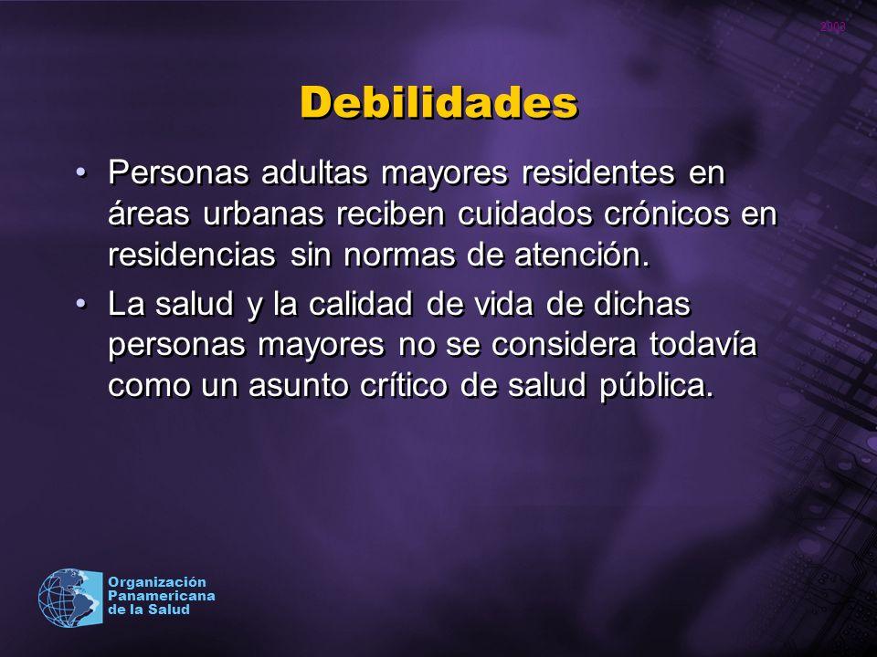 Debilidades Personas adultas mayores residentes en áreas urbanas reciben cuidados crónicos en residencias sin normas de atención.