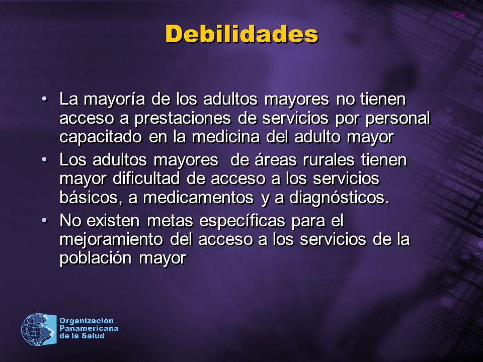 Debilidades La mayoría de los adultos mayores no tienen acceso a prestaciones de servicios por personal capacitado en la medicina del adulto mayor.
