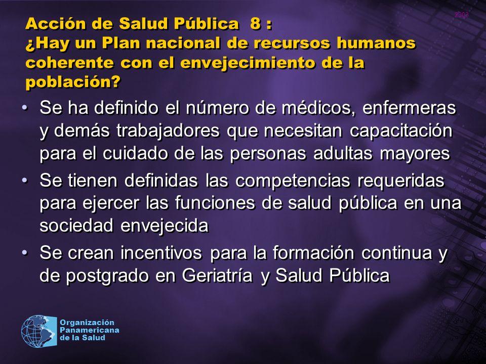 Acción de Salud Pública 8 : ¿Hay un Plan nacional de recursos humanos coherente con el envejecimiento de la población
