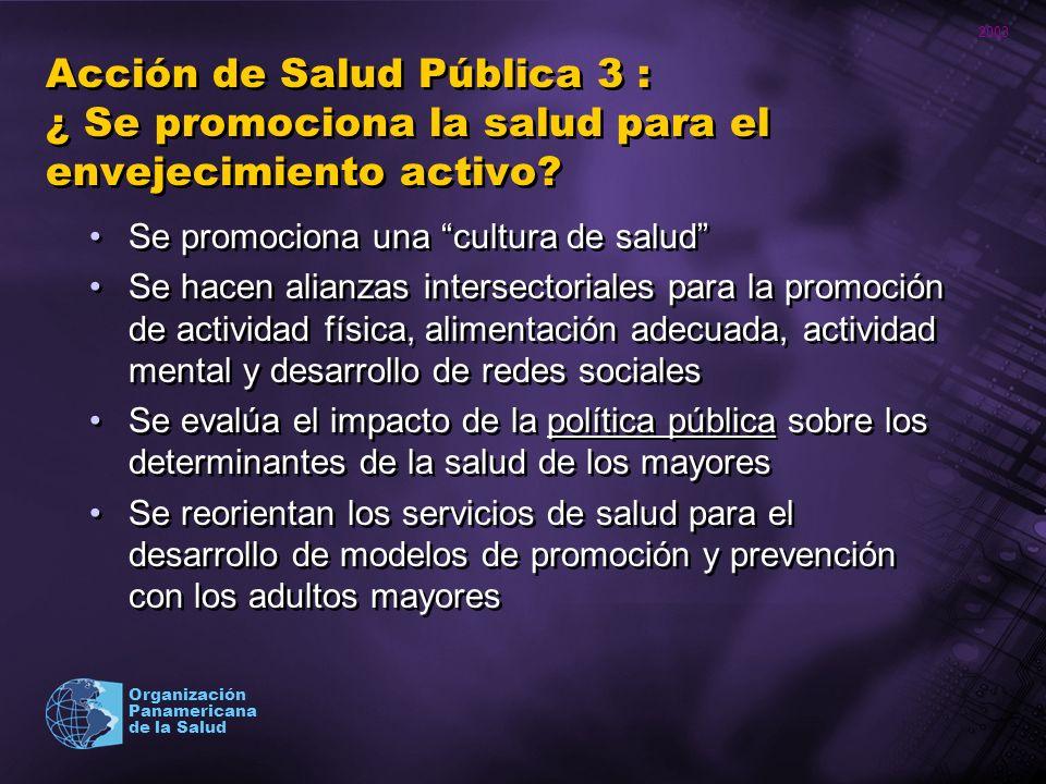 Acción de Salud Pública 3 : ¿ Se promociona la salud para el envejecimiento activo