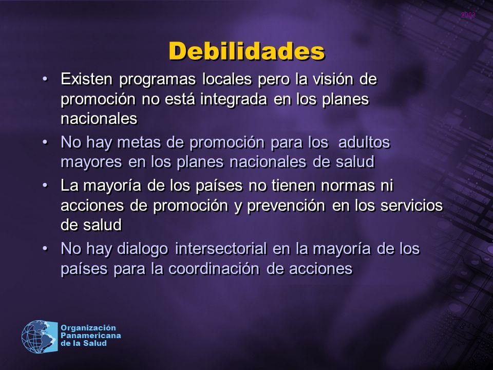 Debilidades Existen programas locales pero la visión de promoción no está integrada en los planes nacionales.