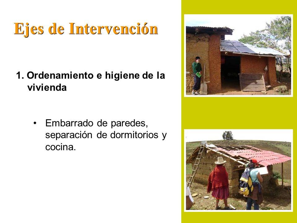 Ejes de Intervención 1. Ordenamiento e higiene de la vivienda