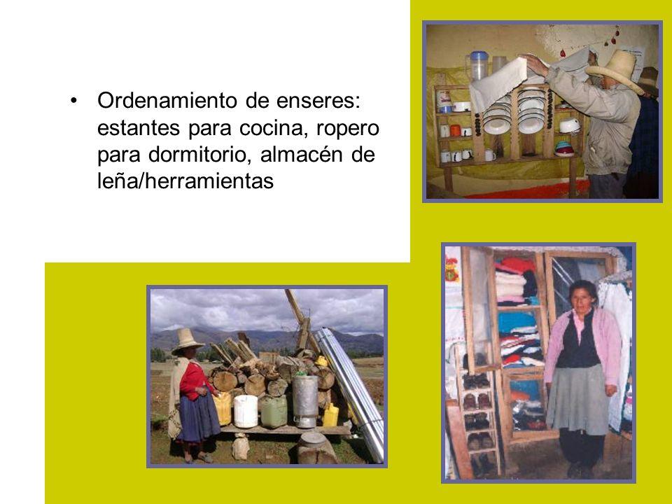 Ordenamiento de enseres: estantes para cocina, ropero para dormitorio, almacén de leña/herramientas