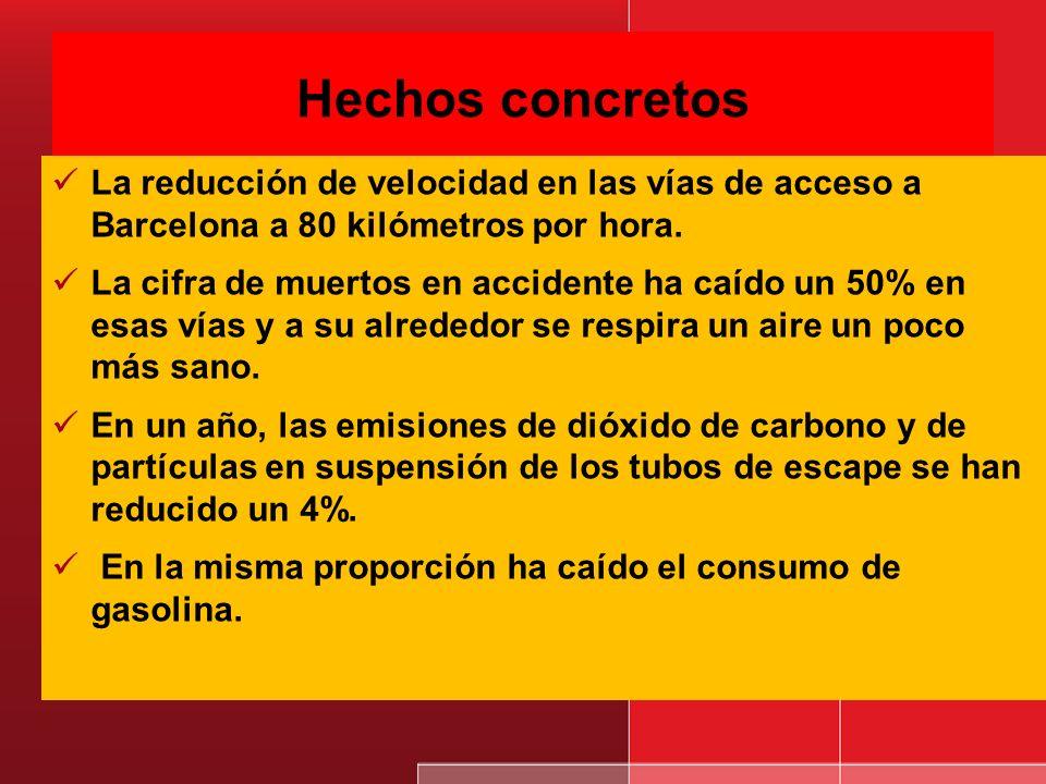 Hechos concretosLa reducción de velocidad en las vías de acceso a Barcelona a 80 kilómetros por hora.