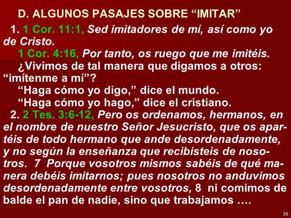 D. ALGUNOS PASAJES SOBRE IMITAR