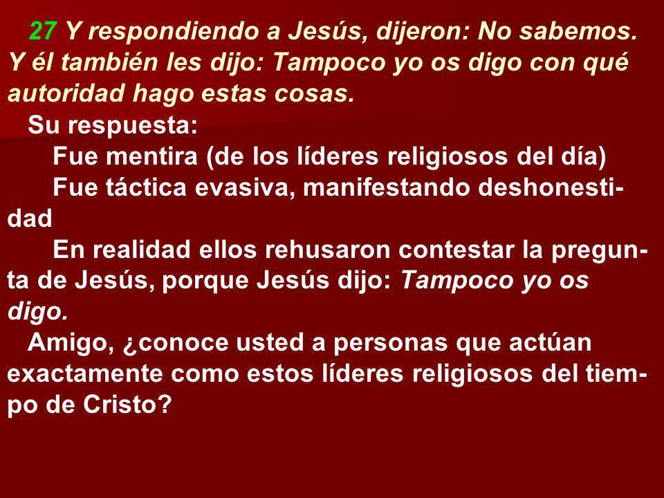 27 Y respondiendo a Jesús, dijeron: No sabemos