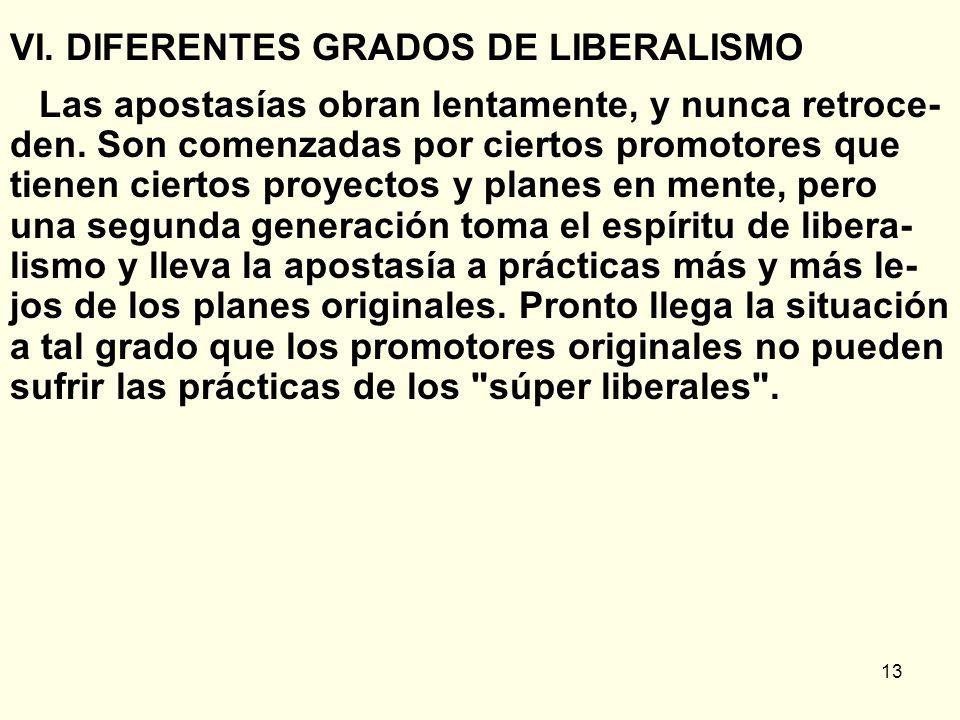 VI. DIFERENTES GRADOS DE LIBERALISMO