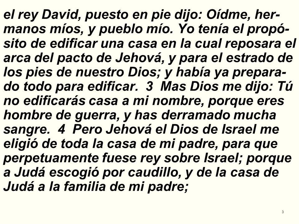 el rey David, puesto en pie dijo: Oídme, her-manos míos, y pueblo mío
