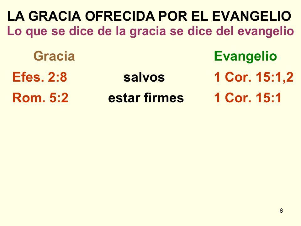 LA GRACIA OFRECIDA POR EL EVANGELIO Lo que se dice de la gracia se dice del evangelio