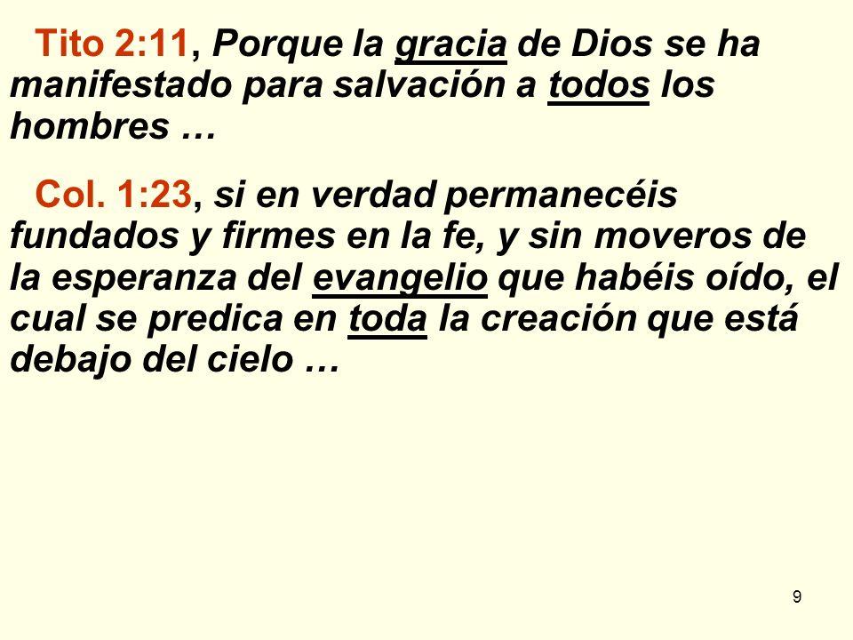 Tito 2:11, Porque la gracia de Dios se ha manifestado para salvación a todos los hombres …