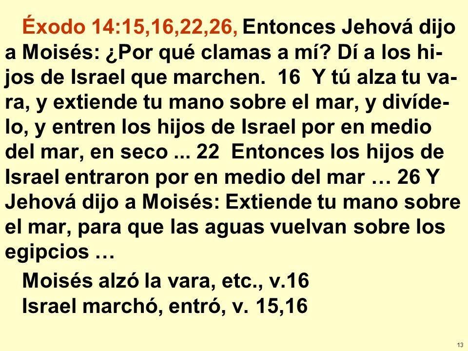 Éxodo 14:15,16,22,26, Entonces Jehová dijo a Moisés: ¿Por qué clamas a mí Dí a los hi-jos de Israel que marchen. 16 Y tú alza tu va-ra, y extiende tu mano sobre el mar, y divíde-lo, y entren los hijos de Israel por en medio del mar, en seco ... 22 Entonces los hijos de Israel entraron por en medio del mar … 26 Y Jehová dijo a Moisés: Extiende tu mano sobre el mar, para que las aguas vuelvan sobre los egipcios …