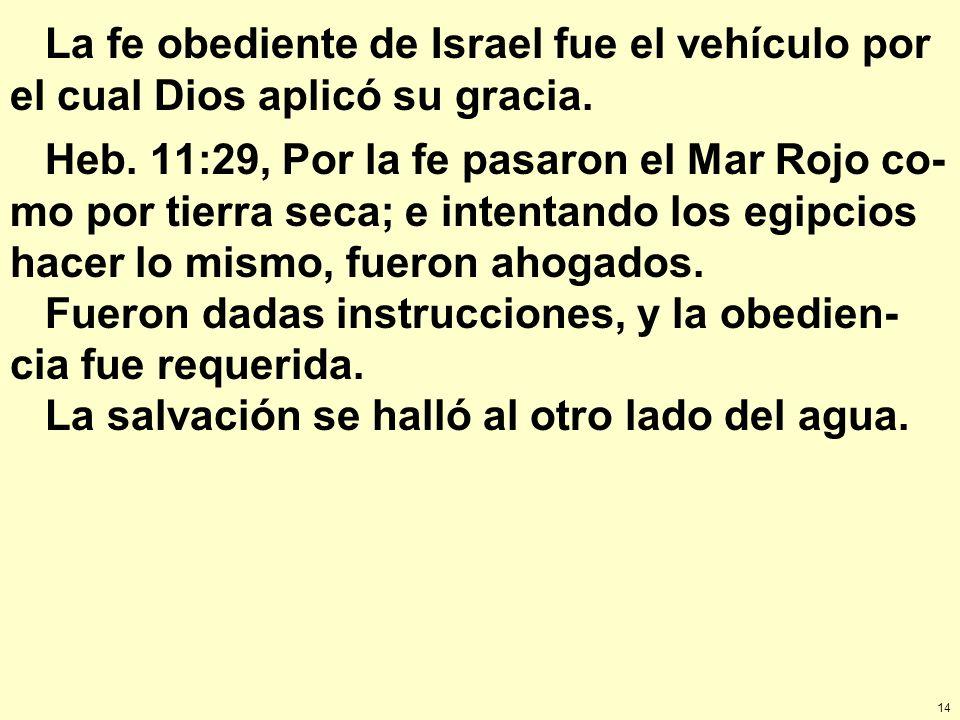 La fe obediente de Israel fue el vehículo por el cual Dios aplicó su gracia.
