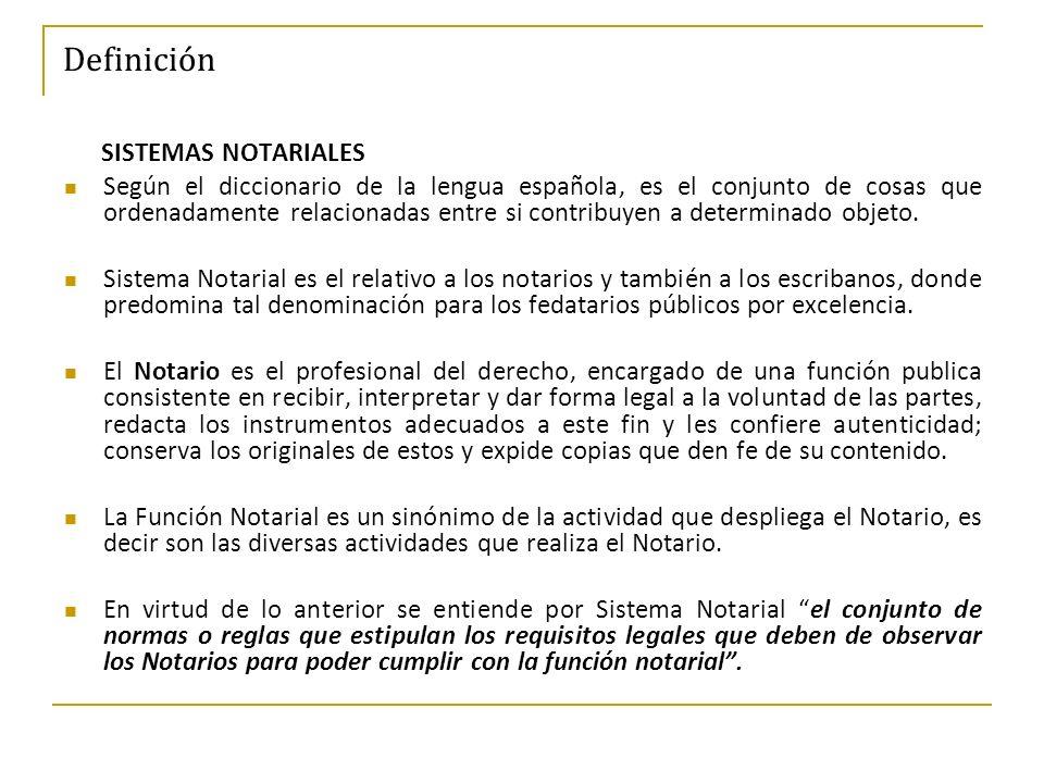 Definición SISTEMAS NOTARIALES