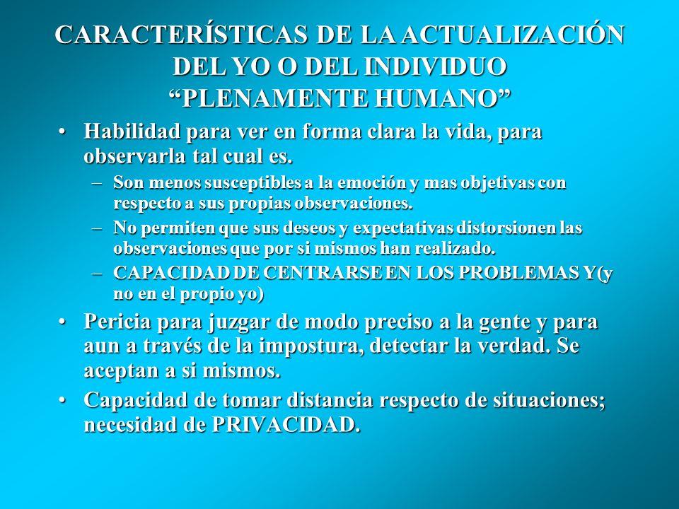 CARACTERÍSTICAS DE LA ACTUALIZACIÓN DEL YO O DEL INDIVIDUO PLENAMENTE HUMANO