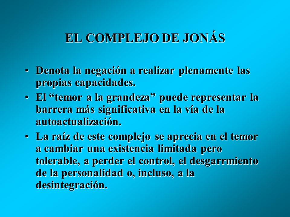 EL COMPLEJO DE JONÁS Denota la negación a realizar plenamente las propias capacidades.