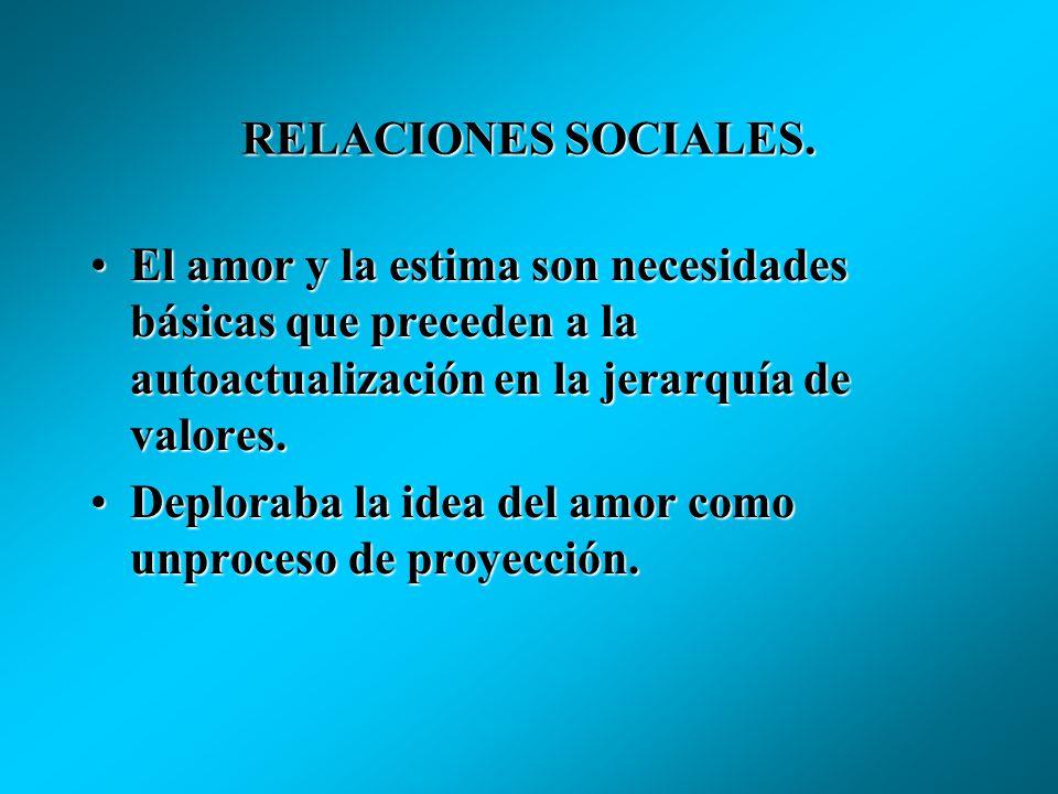 RELACIONES SOCIALES. El amor y la estima son necesidades básicas que preceden a la autoactualización en la jerarquía de valores.