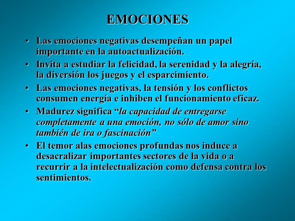 EMOCIONESLas emociones negativas desempeñan un papel importante en la autoactualización.