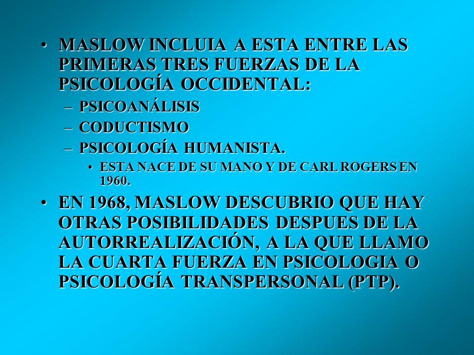 MASLOW INCLUIA A ESTA ENTRE LAS PRIMERAS TRES FUERZAS DE LA PSICOLOGÍA OCCIDENTAL: