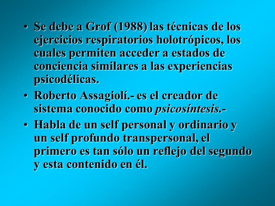 Se debe a Grof (1988) las técnicas de los ejercicios respiratorios holotrópicos, los cuales permiten acceder a estados de conciencia similares a las experiencias psicodélicas.