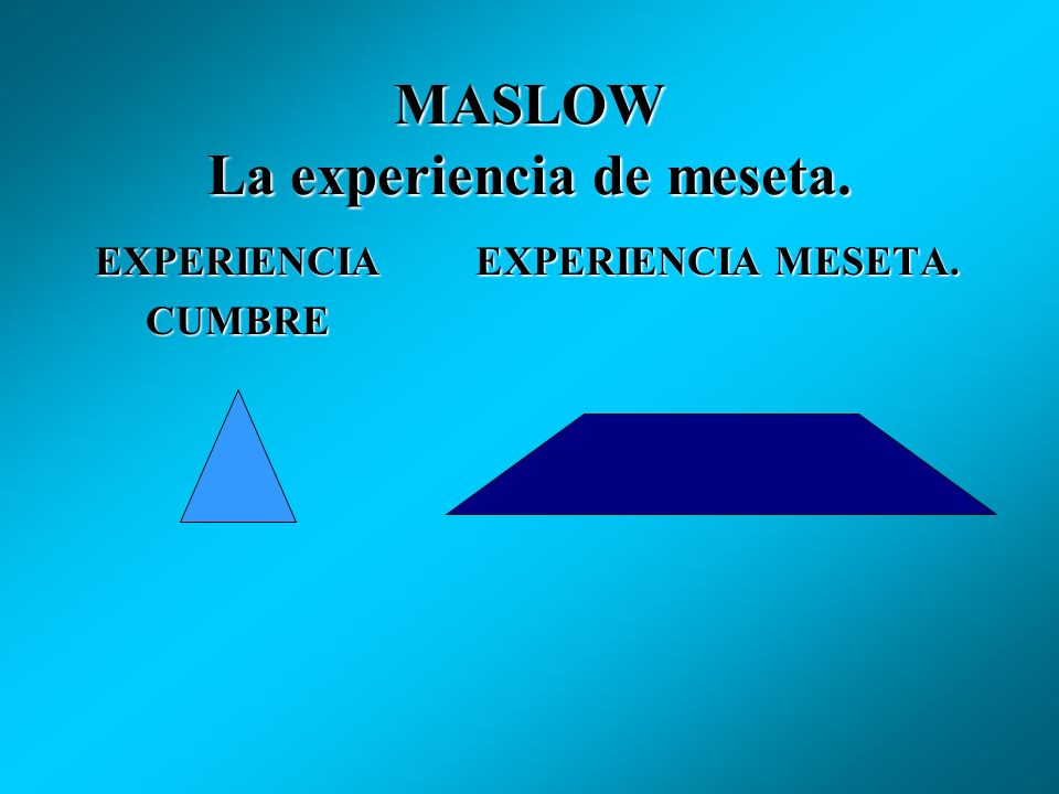 MASLOW La experiencia de meseta.
