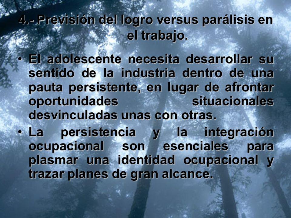 4.- Previsión del logro versus parálisis en el trabajo.