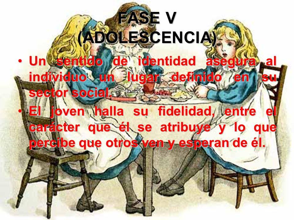 FASE V (ADOLESCENCIA)Un sentido de identidad asegura al individuo un lugar definido en su sector social.