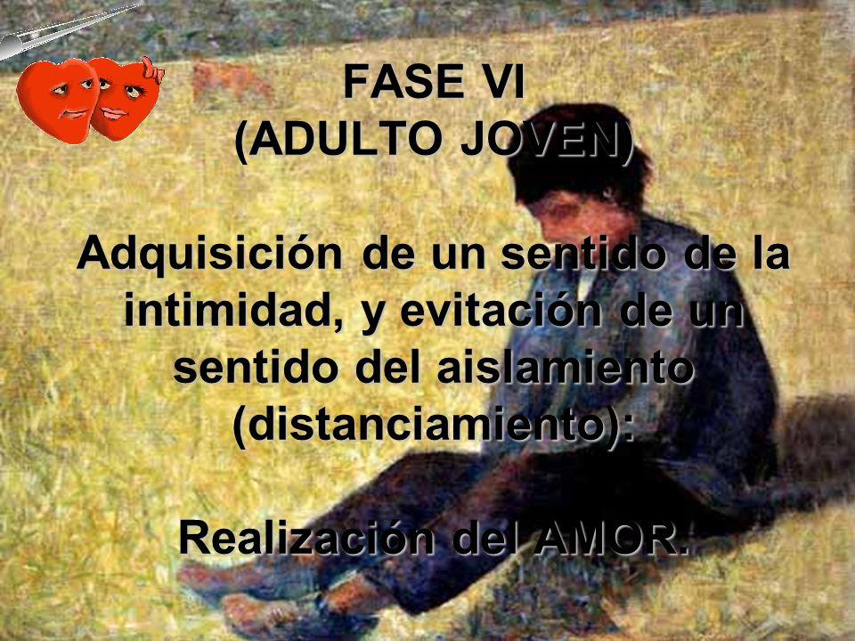 FASE VI (ADULTO JOVEN) Adquisición de un sentido de la intimidad, y evitación de un sentido del aislamiento (distanciamiento): Realización del AMOR.
