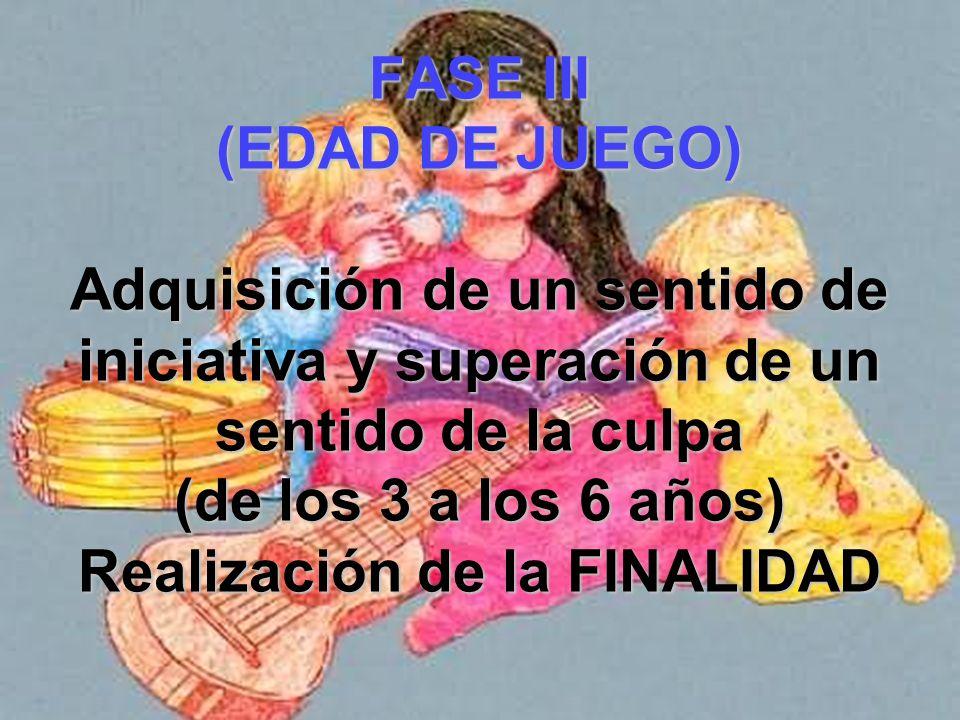 FASE III (EDAD DE JUEGO) Adquisición de un sentido de iniciativa y superación de un sentido de la culpa (de los 3 a los 6 años) Realización de la FINALIDAD