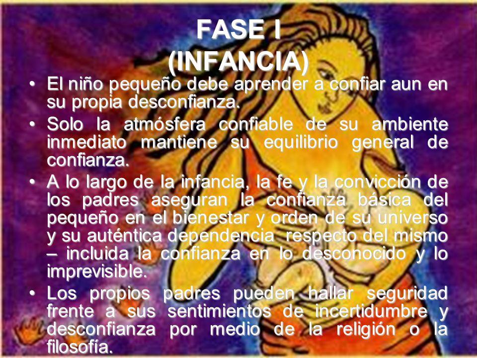 FASE I (INFANCIA) El niño pequeño debe aprender a confiar aun en su propia desconfianza.